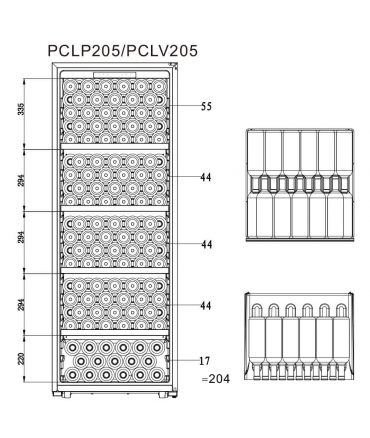 PCLP205 Cave polyvalente plan chargement 204 bouteilles climadiff