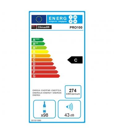étiquette énergie PRO100 cave polyvalente 98 bouteilles