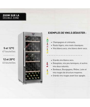 Cave de service double zone 110 bouteilles CLS110MT CLiMADiFF double zone